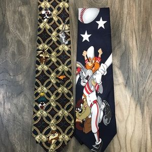 Warner Bros. Accessories - VTG 90's Lot Of 2 Looney Tunes neck ties Bugs Taz